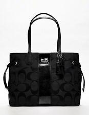 COACH BLACK STRIPE SIGNATURE PURSE TOTE SHOPPER Bag SLIM Horse & Carriage L NWT