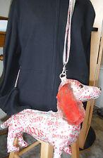 FUZZY NATION Red DACHSUND purse bag dog cross body metallic silver tote hotdog