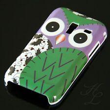 Samsung Galaxy Ace Plus S7500 Hard Handy Case Hülle Schale Etui Eule Grün Owl