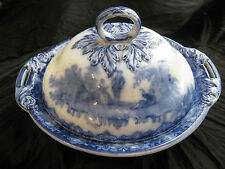 ROYAL DOULTON WATTEAU FLOW BLUE COVERED VEGETABLE or MUFFIN DISH + LID c1914