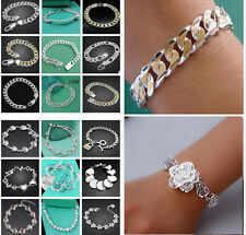 Free P&P Fashion Xmas Gifts Jewelry Men/Lady 925solid Silver Bracelet Bangle