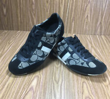 Coach Joss Women Sneakers  Shoes Black / White Canvas & Suede Size 7M