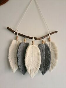 Grey Macrame Feather Wall Hanging, Bohemian Chic Style Home Decor, Wall Tapestry