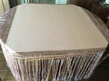 "Antique Vtg Silk Piano Scarf 40"" X 40"" + 19""to 22"" Fringe lavender silk"