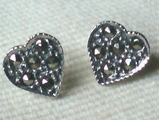 STERLING SILVER HEART 10mm STUD EARRINGS with FACETED MARCASITE STONES £10.50nwt