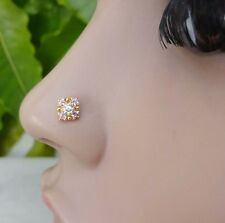 Nose PiercingSilver Stone Crock Back Nose Stud Pin  Jewelry CZ Indian Nose Ring