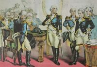 Currier & Ives VTG Art Full Color Plate George Washington Army Officers New York