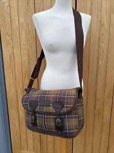 Unisex Cross Body BARBOUR TARRAS Tartan MESSENGER Bag Leather TRIMS