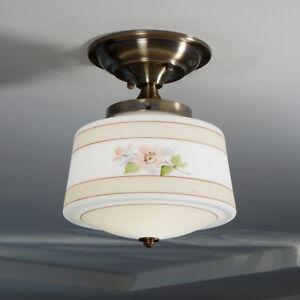 Semi-Flush Ceiling Light. Vintage Painted Shade. New Fixture Base.