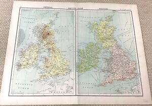 1891 Antique Map of The British Isles UK Britain Physical Political 19th Century