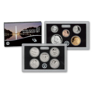 2017-S U.S. Silver Proof Set: Complete 10-Coin Set, with Box and COA, as pic.