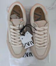 Zara Women's Coloured Sole Pink Beige Trainers Sneakers UK 4 EUR37