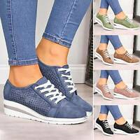 Womens Wedge Heel Hollow Out Lace Up Sneakers Shoes Breathable Casual Trainers