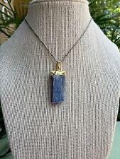 Blue Kyanite Pendant Blade Gold Plated Gemstone Pendant Reiki Crystal Healing.