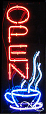 "BRAND NEW ""OPEN"" 32x13 W/LOGO VERTICAL REAL NEON SIGN w/CUSTOM OPTIONS 10400"