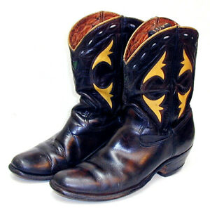 NuYrSale Cowboy Boots ACME CUTOUT PEEWEE  Drk Brown &Yellow Size 71/2 D