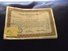 Antique Indian Motocycle Motorcycle Co Brown Stock Certificate Pair 1948