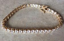 """New~14 K Gold Diamonique QVC Tennis Bracelet~4mm .25ct Stones (40)~10.1 grams~7"""""""