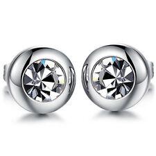 1Pair New Women Mens Cubic Zirconia Rhinestone Stainless Steel Ear Stud Earrings