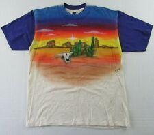 Vintage '95 LA Sportswear Airbrushed Desert Plains Scene White T Shirt Size XL
