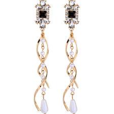 Betsey Johnson Fashion Rare Alloy Rhinestone White Pearl Drop Earring Jewelry
