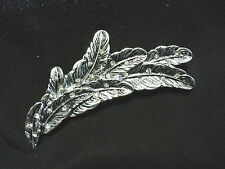 Ladies Women's Silver Tone Tiny Diamonte 8 Feathers Hair Clip Sparkle Wedding