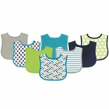 Luvable Friends Boy Feeder Bibs, 8-Pack, Blue and Lime