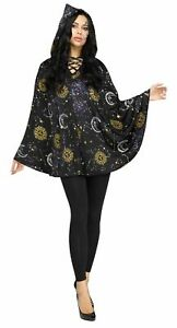 Celestial Black Hooded Poncho Witch Sorceress Womens Costume Accessory NEW