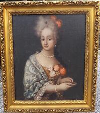Quadro ritratto di dama nobile epoca '700 dipinto olio su tela cornice dorata