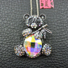 New Betsey Johnson Cute Bling Bear Colorful Crystal Pendant Chain Necklace