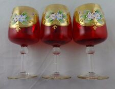 CZECH BOHEMIAN GLASS RED & GOLD HAND PAINTED FLOWERS 3 WINE GOBLETS GLASSES 5""