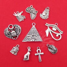 Egyptian Charms 10PCs Set - Wholesale Antiqued Silver Plated Egypt Collection