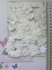 WHITE Camillia, Blossom & Gerberra - 25 Flowers - PAPER & SILK 20-85mm VE5