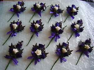 Back by Popular Demand! Artificial Triple Thistle and Rose Wedding Buttonhole