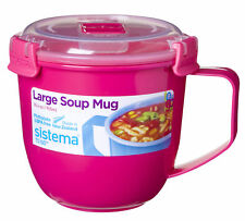 Sistema Large Pink Klip It Microwave Soup To Go Mug 900ml Clip Lid Lunch Work