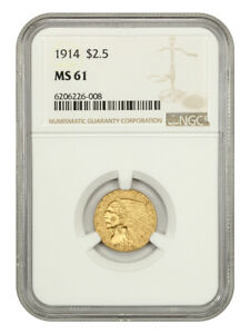 1914 $2 1/2 NGC MS61 - Better Date - 2.50 Indian Gold Coin - Better Date