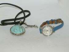 Fossil Heather Silver Dial Blue Leather Ladies Watch ES-3304 Plus Fossil Neckles
