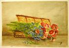 Bouquet de fleurs aquarelle signée FD still life flowers nature morte c 1930