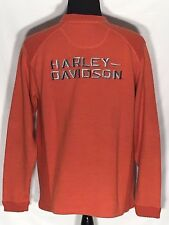 Harley-Davidson Motorcycles Embroidered Stitched Medium Orange Sweater Pullover