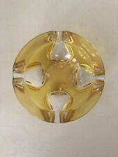 HUGE VINTAGE MURANO ART GLASS BOWL ASHTRAY Dish Amber Yellow Clear RETRO