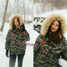 ZARA CAMOUFLAGE EMBROIDERED PUFFER JACKET WITH FAUX FUR HOOD SIZE L