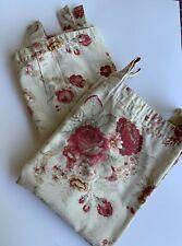 "SET Waverly Garden Room*Norfolk Rose*Cottage 2 Curtain Panels 20x54"" EUC Tab Top"