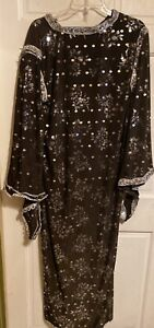 HAB-Just For You Sequined Caftan Robe~Ethnic Global Elegance~Deep Purple~XL~EXC!