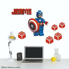 Lego Captain America Wall Sticker Decal Name Personalised Boys Bedroom Decor