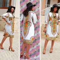 Women African Dashiki Party Hippie Traditional Tribal Casual Short Mini Dresses