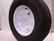 "13"" White Spoke Trailer Wheel with bias ST175/80D13 Tire Mounted (5x4.5) bolt"