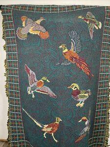 "Goodwin Weavers Duck Pheasant Quail Hunting Lodge Tapestry Throw Blanket 67""X49"""