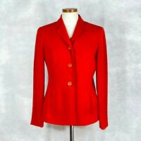 Jones New York Womens Red Polyester Blazer Jacket w working front pockets Sz 6