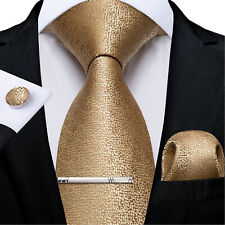 USA Solid Champagne Gold Mens Silk Tie Necktie Ring And Tie Clip Set Wedding