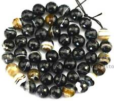 """AAA Cut Faceted Black Stripe Agate Round Gemstone Beads 15"""" 4MM 6MM 8MM 10MM"""